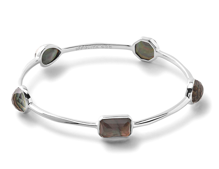 IPPOLITA Sterling Silver Rock Candy 5 Medium Stone Round Bangle in Clear Quartz and Black Shell.