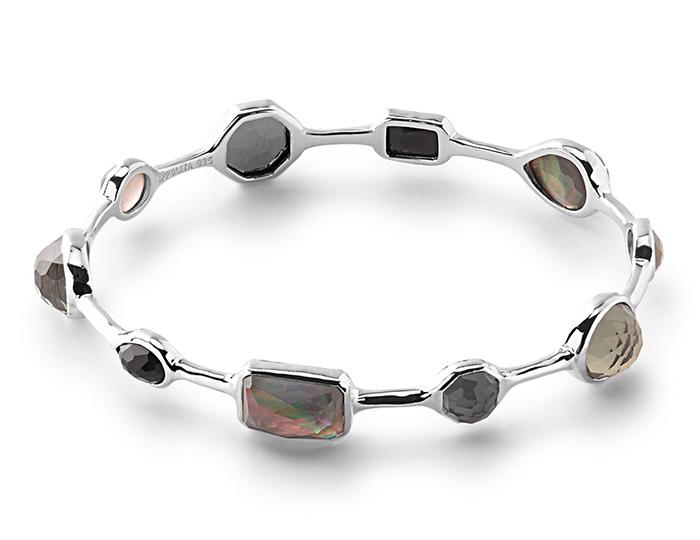 IPPOLITA Sterling Silver Rock Candy Medium Stone Oval Bangle in Black Tie.