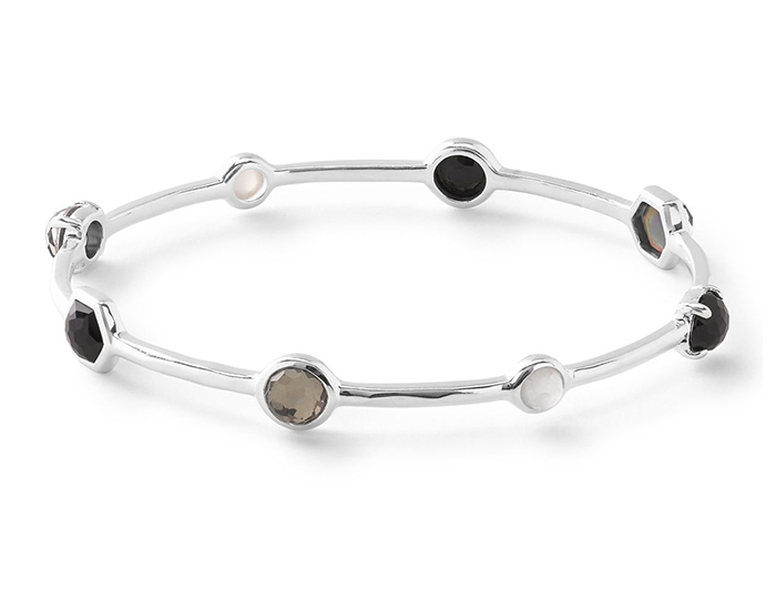 IPPOLITA Sterling Silver Rock Candy Mixed Stone and Metal Bangle in Black Tie.