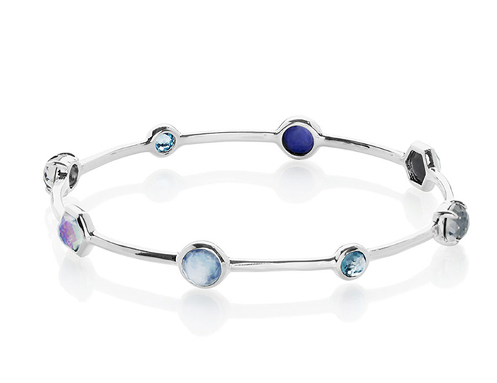 IPPOLITA Sterling Silver Rock Candy Mixed Stone and Metal Bangle in Eclipse.