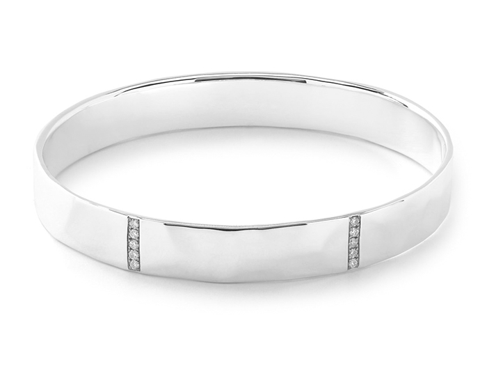 IPPOLITA Sterling Silver Glamazon Stardust 5-Section Wide Bangle with Diamonds.