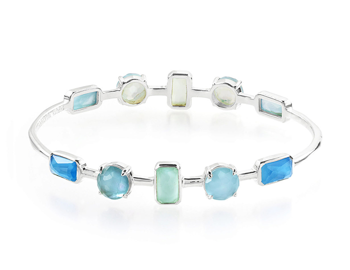 IPPOLITA Sterling Silver Rock Candy Wonderland 10-Stone Mixed Setting Bangle in Blue Star.