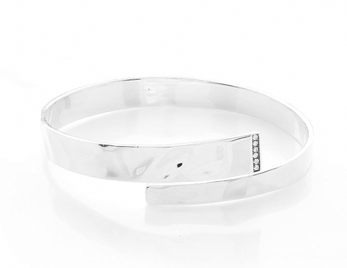 IPPOLITA Sterling Silver Senso Organic Surface Hinged Bypass Bangle with Diamond Line.