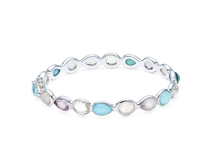 IPPOLITA Sterling Silver Rock Candy Mixed Stone and Metal Bangle in Liolet.