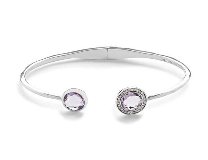 IPPOLITA Lollipop Sterling Silver Bracelet with Amethyst and Round Brilliant Cut Diamonds.