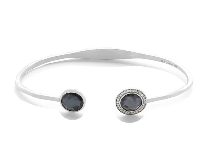 IPPOLITA Lollipop Sterling Silver Bracelet with Hematite and Round Brilliant Cut Diamonds.