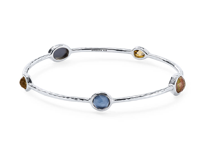 IPPOLITA Sterling Silver Rock Candy Mixed Stone and Metal Bangle in Positano.