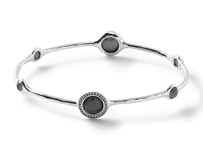 IPPOLITA Sterling Silver Stella Bangle in Hematite Doublet with Diamonds.