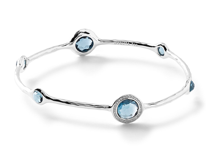 IPPOLITA Sterling Silver Stella Bangle in London Blue Topaz with Diamonds.