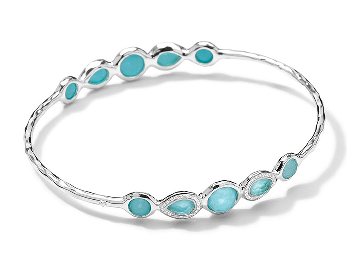 IPPOLITA Sterling Silver Stella Bangle in Turquoise Doublet with Diamonds.