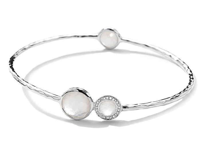 IPPOLITA Sterling Silver Stella Bangle in Mother-of-Pearl Doublet with Diamonds.
