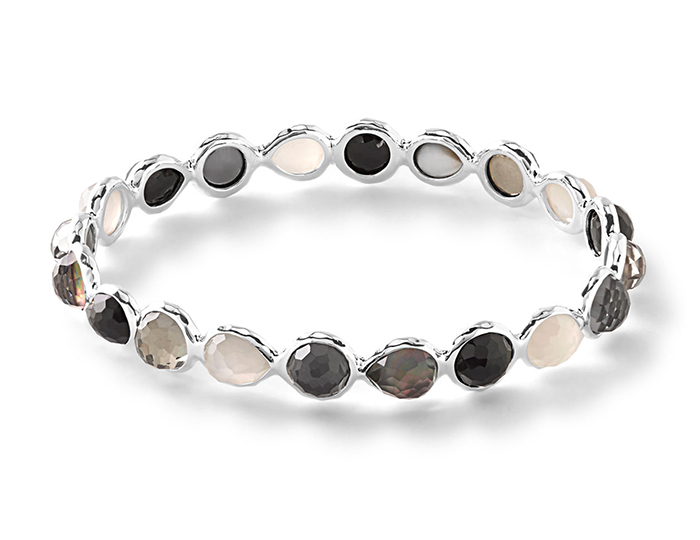 Sterling Silver Rock Candy All Around Bangle in Black Tie.