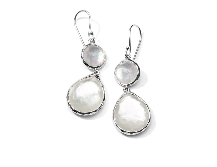 IPPOLITA Sterling Silver Wonderland Mini Teardrop Snowman Earrings in Mother-of-Pearl Doublet.