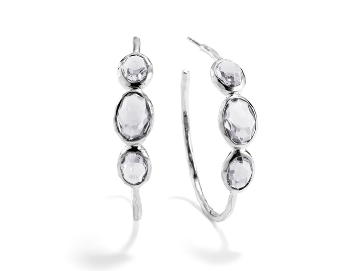 IPPOLITA Sterling Silver Rock Candy #3 3-Stone Hoops in Clear Quartz.