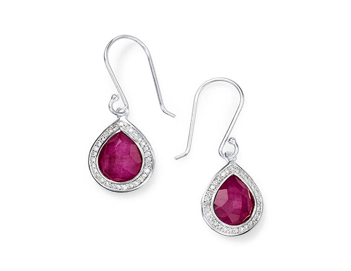 IPPOLITA Lollipop Sterling Silver Teardrop Earrings with Ruby and Round Brilliant Cut Diamonds.