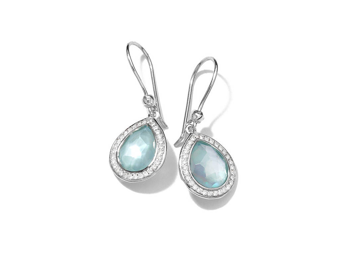 IPPOLITA Sterling Silver Lollipop Teardrop Earrings in Blue Topaz Doublet with Diamonds.