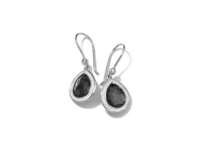 IPPOLITA Sterling Silver Stella Teardrop Earrings in Hematite Doublet with Diamonds.