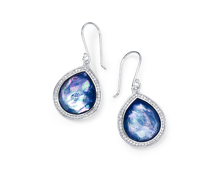 IPPOLITA Lollipop Sterling Silver Teardrop Earrings in Mother-of-Pearl, Lapis and Diamond.