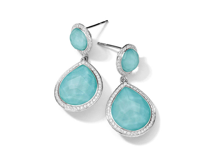 IPPOLITA Sterling Silver Stella 2-Stone Drop Earrings in Turquoise Doublet with Diamonds.