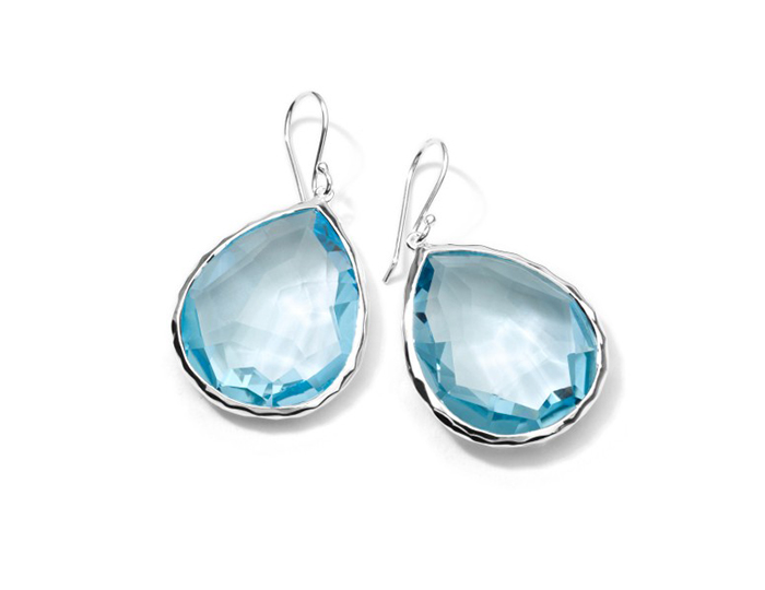 IPPOLITA Sterling Silver Rock Candy Large Teardrop Earrings in Blue Topaz.