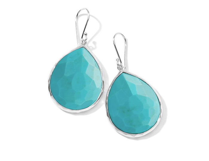 IPPOLITA Sterling Silver Rock Candy Large Teardrop Earrings in Turquoise.