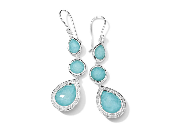 IPPOLITA Sterling Silver Lollipop Earrings in Turqouise Doublet with Diamonds.