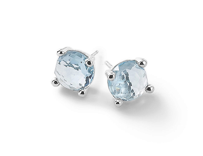 IPPOLITA Sterling Silver Rock Candy Mini Stud Earrings Textured in Blue Topaz.