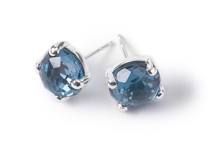 IPPOLITA Sterling Silver Rock Candy Mini Stud Earrings in London Blue Topaz.