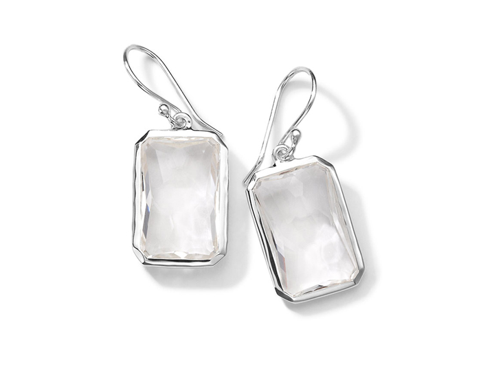 IPPOLITA Sterling Silver Rock Candy Large Stone Drop Earrings in Clear Quartz.