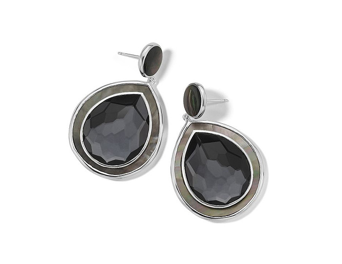 Ippolita Ondine Collection Sterling Silver Hemitite and Black Mother-of-Pearl Earrings.