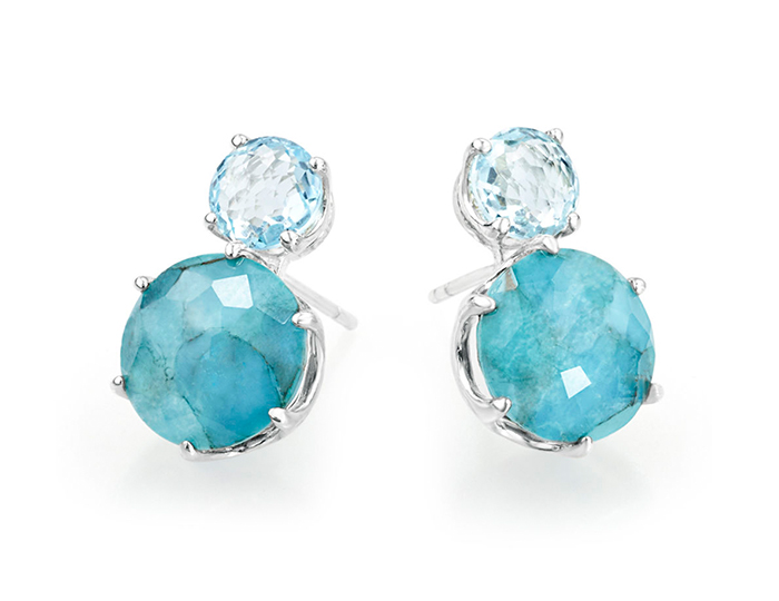 IPPOLITA Sterling Silver Rock Candy 2-Stone Post Earring in Harmony.