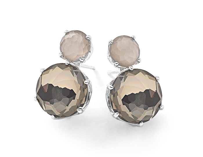 IPPOLITA Sterling Silver Rock Candy 2-Stone Post Earring in Grey Moonstone and White Quartz and Pyrite.