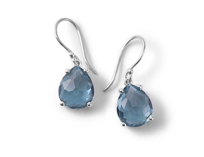 IPPOLITA Sterling Silver Rock Candy Pear Drop Earrings in London Blue Topaz.