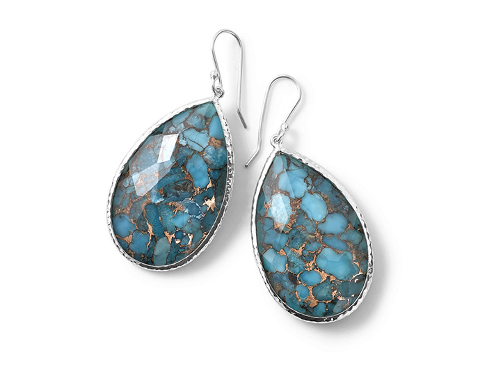 IPPOLITA Sterling Silver Rock Candy Large Pear Wire Earrings in in Bronze Turquoise.