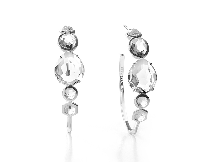 IPPOLITA Sterling Silver Rock Candy Mixed Stone and Bezel Hoop Earring #3 in Clear Quartz.