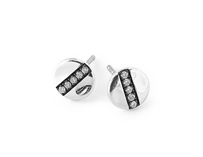 IPPOLITA Sterling Silver Senso 8mm Station Stud Earrings with Diamonds.