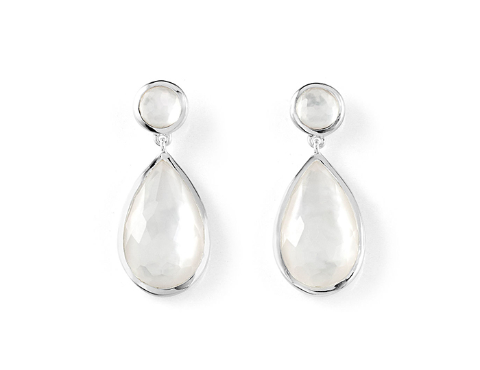 IPPOLITA Sterling Silver Rock Candy 2 Stones Earring in Clear Quartz and Mother-of-Pearl.
