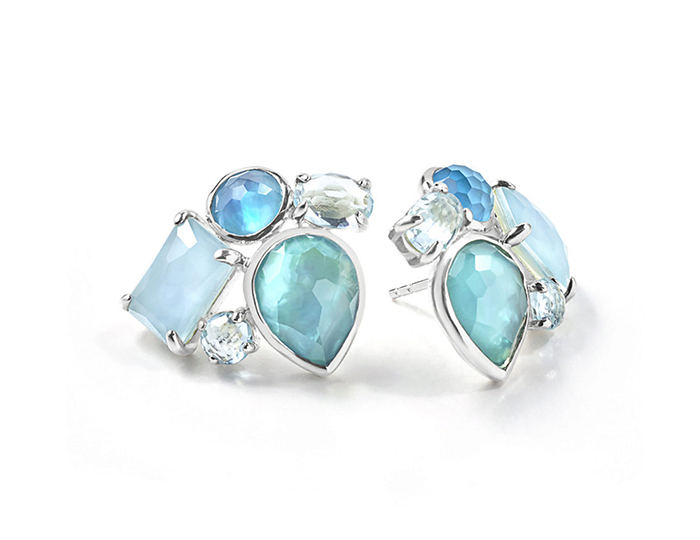 IPPOLITA Sterling Silver Rock Candy Mixed Stones Cluster Earring in Blue Star.