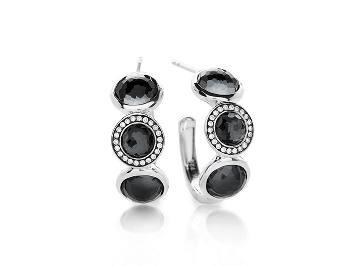 IPPOLITA Sterling Silver Lollipop 3-Stone Small Hoops in Hematite Doublet with Diamonds.