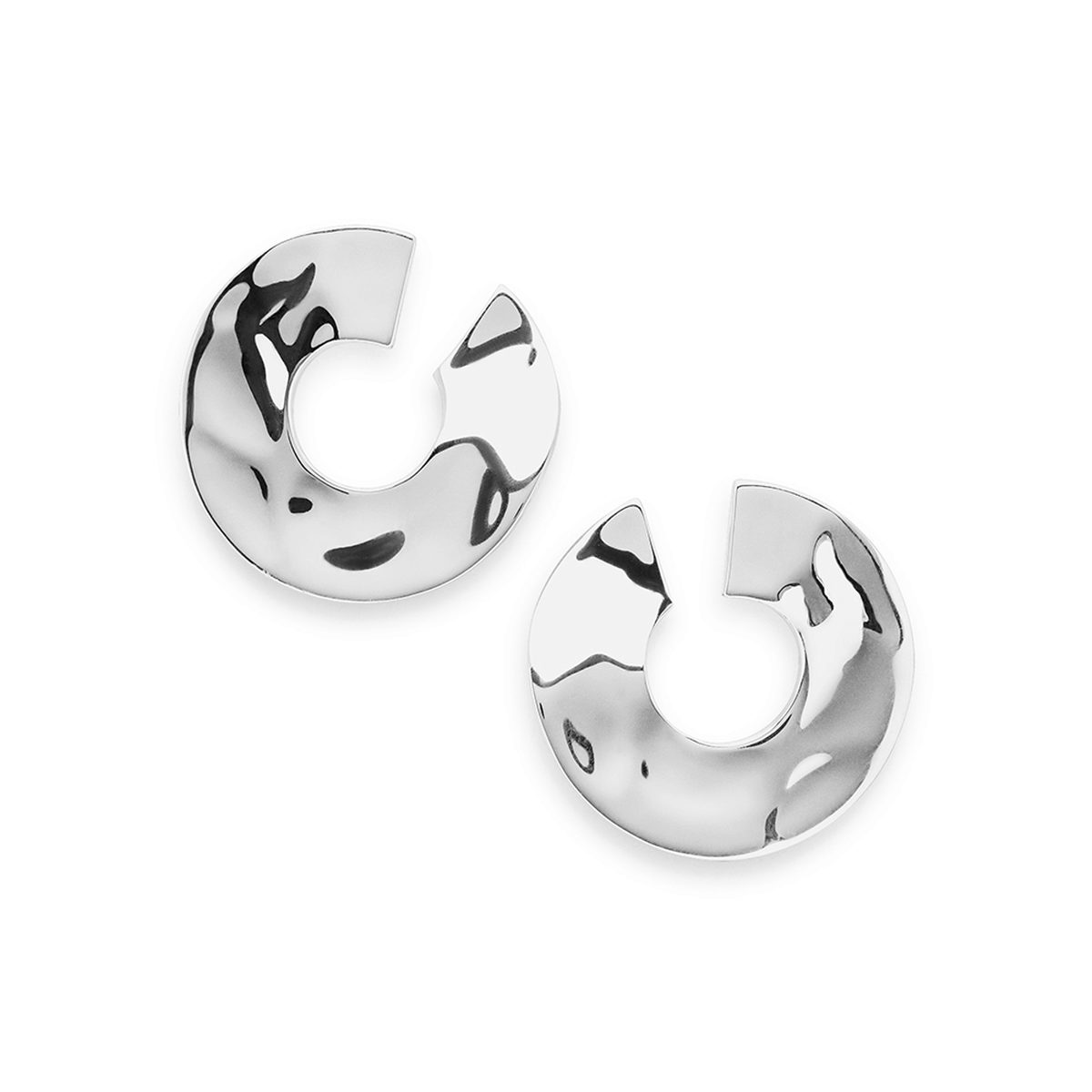 IPPOLITA Sterling Silver Senso 26.5mm Open Wavy Disc Earrings.