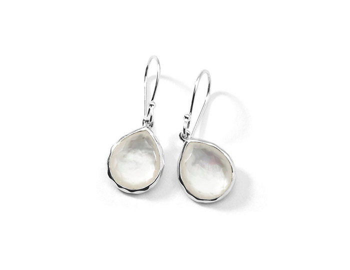 IPPOLITA Sterling Silver Rock Candy Teeny Teardrop Earrings in Mother-of-Pearl Doublet.