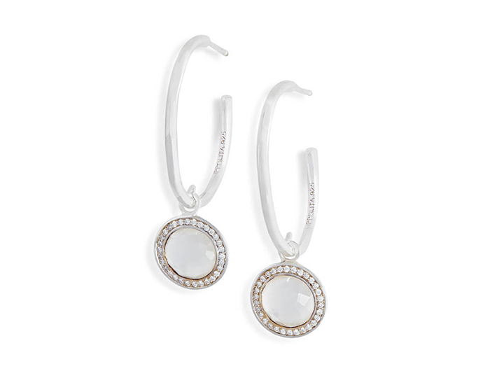 IPPOLITA Lollipop Sterling Silver Earrings in Mother-of-Pearl and Round Brilliant Cut Diamonds.