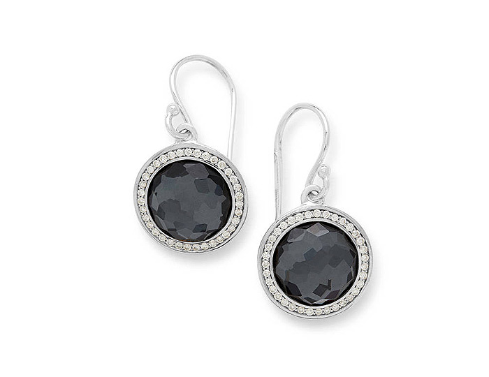 Ippolita Lollipop Collection Sterling Silver Hemitite and Diamond Earrings.