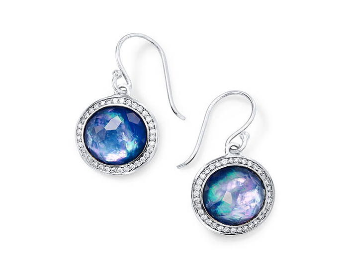 IPPOLITA Lollipop Sterling Silver Earrings in Mother-of-Pearl, Lapis and Diamond.