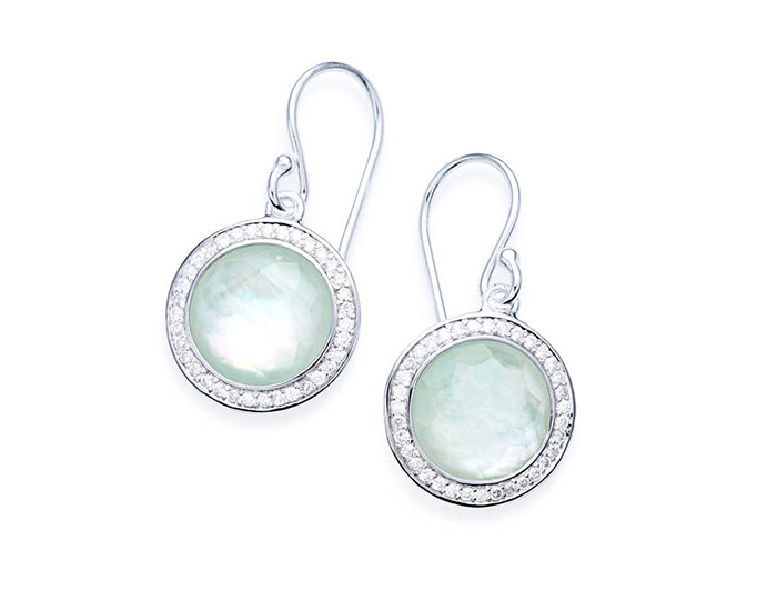 IPPOLITA Sterling Silver Lollipop Earrings in Quartz, Mother-of-Pearl and Amazonite with Diamonds.