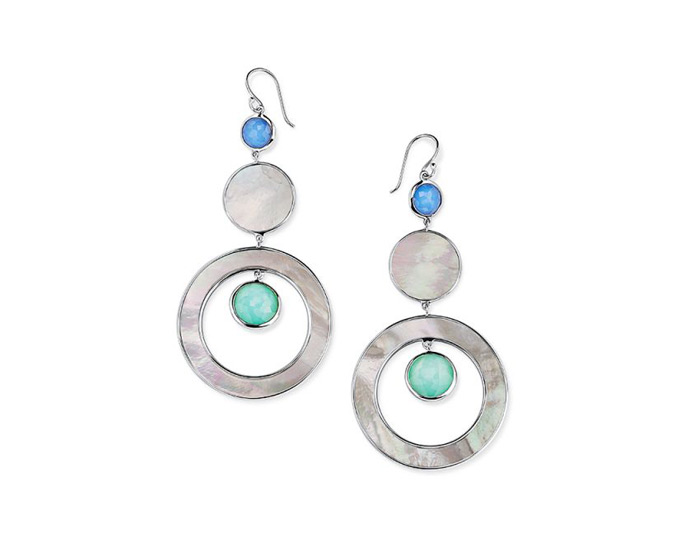 Ippolita Wonderland Collection Sterling Silver Earrings in Brazilian Blue.