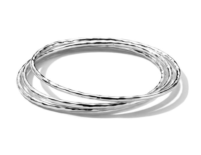 IPPOLITA Sterling Silver 3 Plain Hammered Bangle Set.