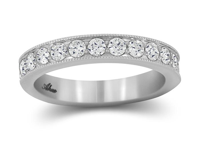 Round brilliant cut diamond band in 18k white gold.