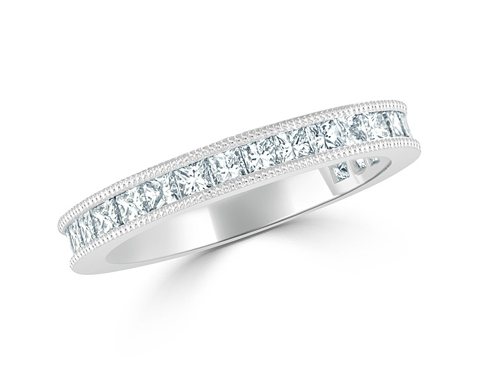 Princess cut diamond band in 18k white gold.