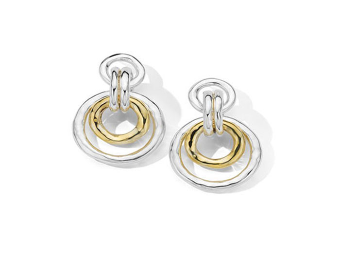 Ippolita Chimera collection earrings in 18k yellow gold and sterling silver.